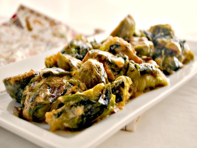 Cream Braised Brussels Sprouts