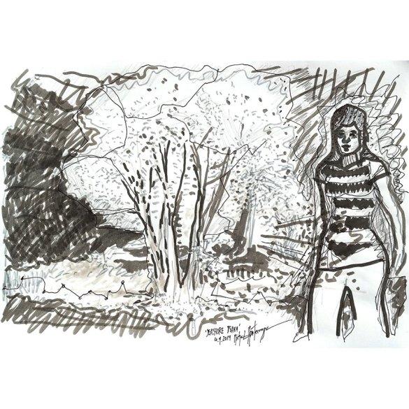 Seashore Diana - drawing by Michel Montecrossa