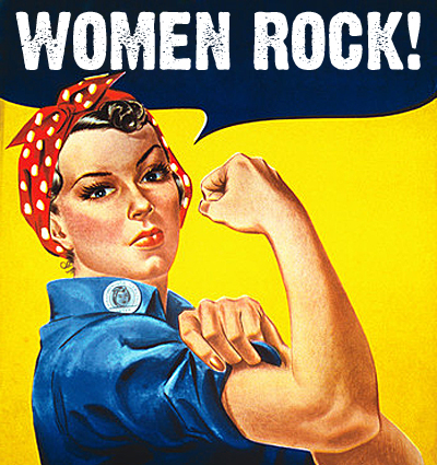 """Stock photograph of the famous World War II poster """"We Can Do It!"""" showing Rosie the Riveter wearing a red bandana and flexing her muscles against a yellow background, created by J. Howard Miller. The woman that modeled for this image was actually named Geraldine Doyle and was a real riveter in the 1940s."""