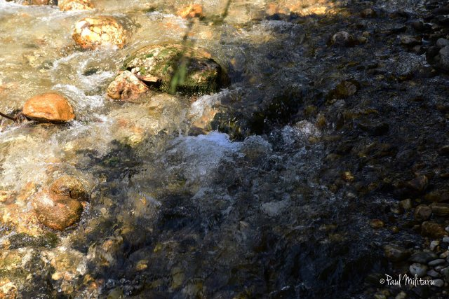 sun and shadow - mountain stream and rocks